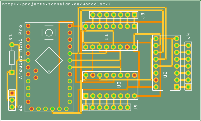 Circuit board for the wordclock projects